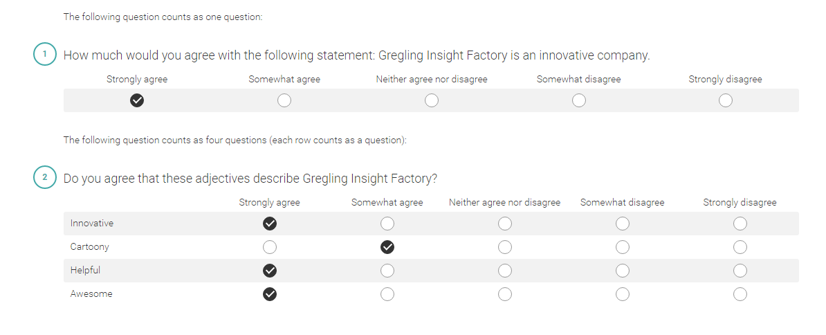 Gregling insight factory - Likert rating scale